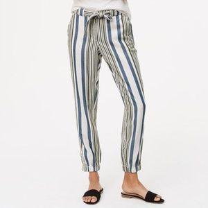 LOFT Size 8 Tall Striped Tie Waist Cargo Pants